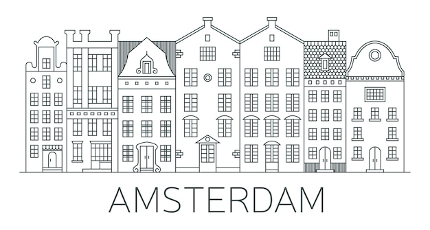 Banner of amsterdam city in line style.