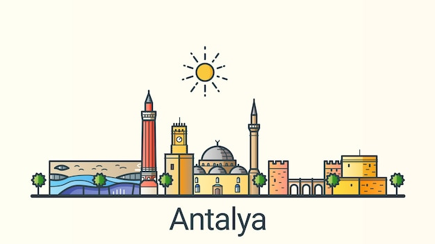 Banner of antalya city in flat line trendy style. all buildings separated and customizable. line art.
