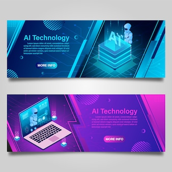 Banner artificial intelligence robot technology for business isometric design