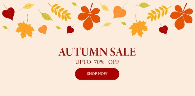 Banner autumn discounts up to 70 sale vector graphics