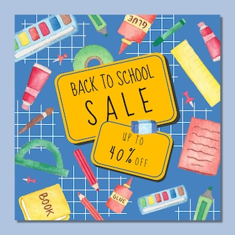 Banner of back to school sale with watercolor stationery supplies