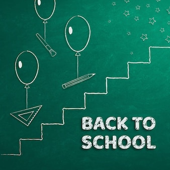 Banner back to school school supplies and ladder to success