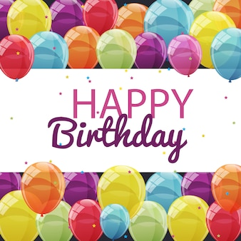 Цветные глянцевые шары с днем рождения banner background il