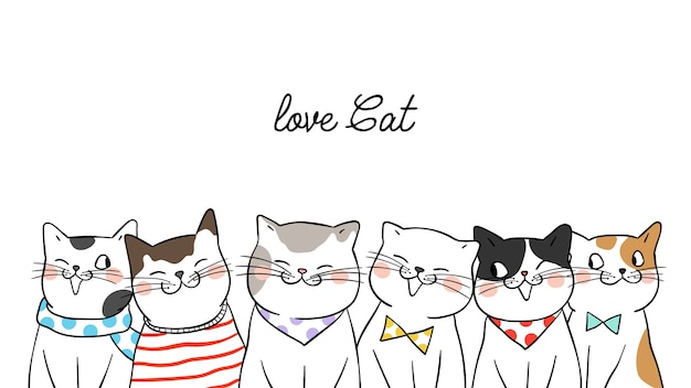 Banner background portrait cute cats on white