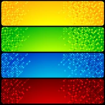 Banner background set with mosaic design