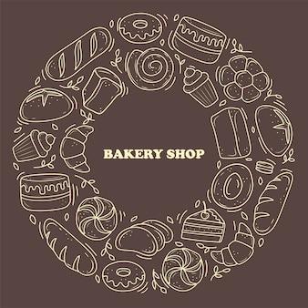 バナーベーカリー製品は落書きのスタイルで描かれています。黒と白のパン、ケーキ、モンチク、クロワッサン。白い背景の上のベクトルイラスト。