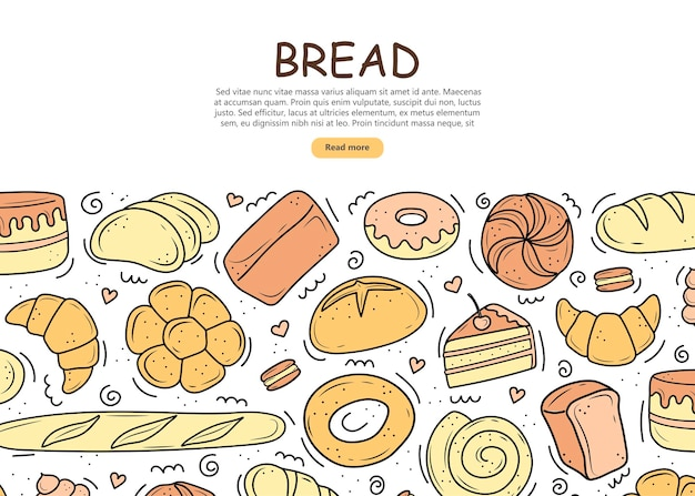 Banner bakery products are drawn in the style of doodles. black and white bread, cake, monchik, croissant. vector illustration on a white background.