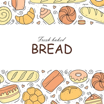 Banner bakery products are drawn in the style of doodles black and white bread cake