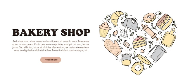Banner of baking and cooking tools, in the form of a heart, mixer, cake, spoon, cupcake, scales. vector illustration in the doodle style. a sketch drawn by hand on a white background.