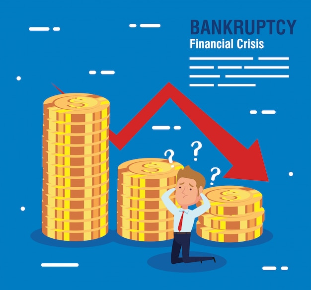 Banner bankruptcy financial crisis, worried businessman with coins and arrow down