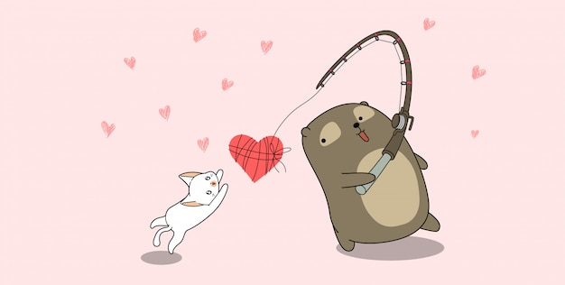 Banner bear and cat are fishing love on pink background