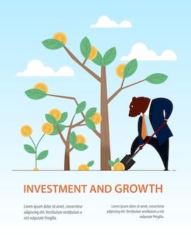 Banner bear dig shovel tree business investment