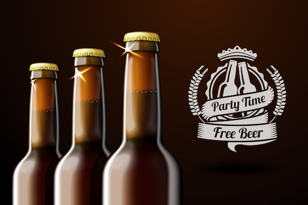 Banner for beer adwertisement with three realistic brown beer bottles and beer label with place for your text and . on dark background.