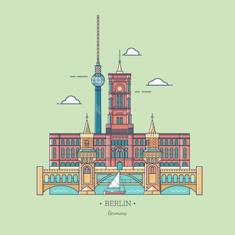 Banner of berlin city in line trendy style.travel berlin icon. tourist attractions in capital of germany