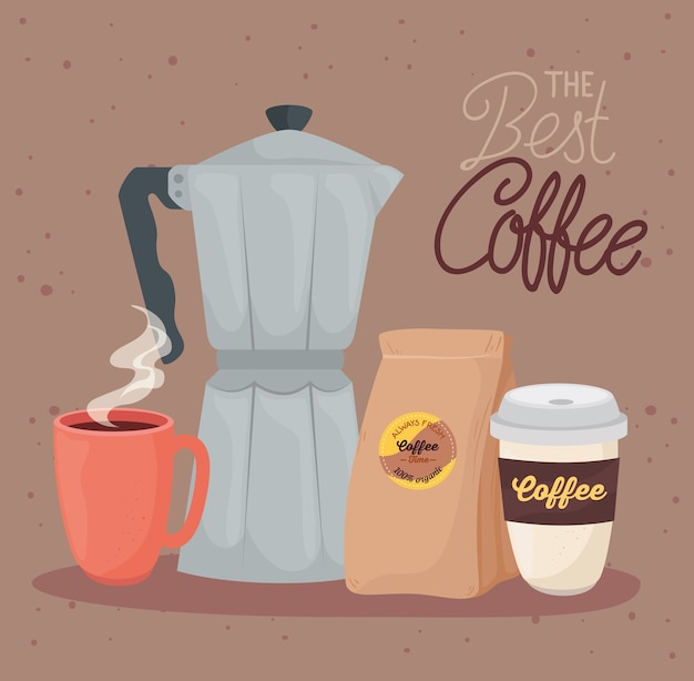 Banner the best coffee with set icons illustration design