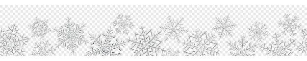 Banner of big complex translucent christmas snowflakes in gray colors, isolated on transparent background. with seamless horizontal repetition. transparency only in vector format