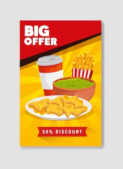 Banner big offer of nachos and guacamole with fifty percent discount