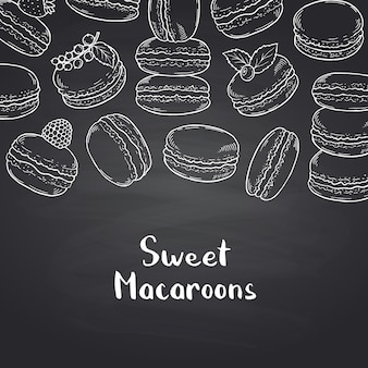 Banner on black chalkboard with hand drawn macaroons