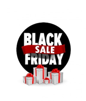 Баннер черная пятница плоский дизайн для продажи с подарками коробки