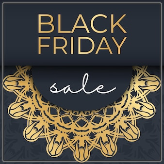 Banner for black friday sales dark blue with abstract gold ornament
