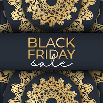Banner for black friday sales dark blue with an abstract gold pattern