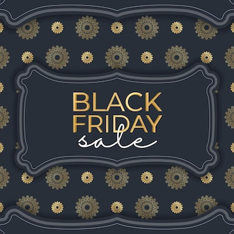 Banner for black friday sales dark blue with ancient gold ornament