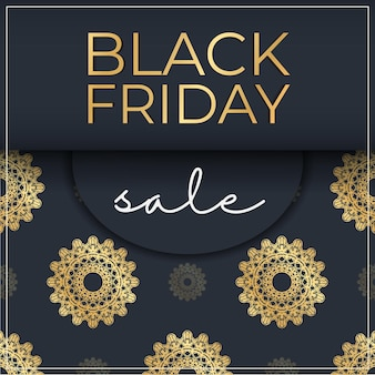 Banner for black friday sales dark blue with geometric gold pattern