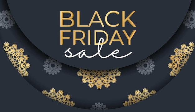 Banner for black friday sales dark blue with a luxurious gold pattern
