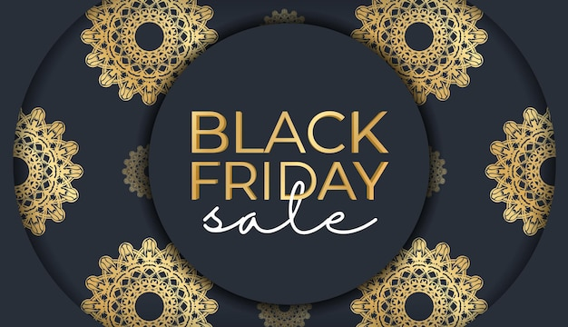 Banner for black friday sales dark blue with luxurious golden ornament
