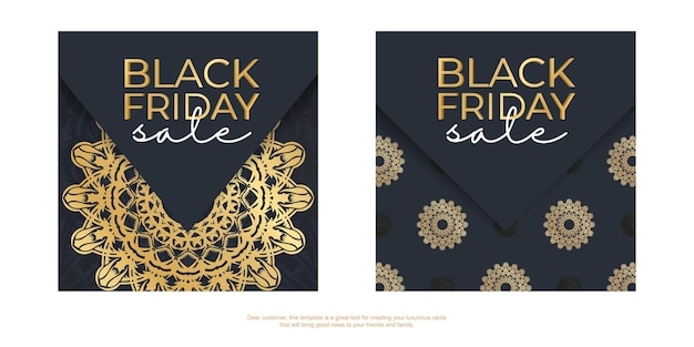 Banner for black friday sales dark blue with round gold ornament