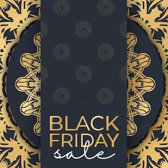 Banner for black friday sales dark blue with round gold pattern