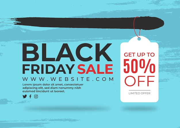 Banner black friday with label on painted background