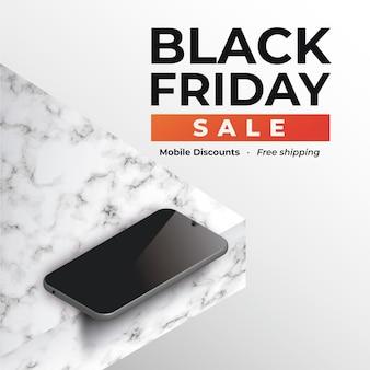 Баннер черная пятница со смартфоном на мраморе