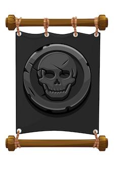 Баннер черный пиратский знак, каменный череп для игры. векторная иллюстрация серого тканевого баннера, старые монеты.