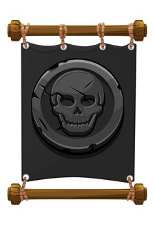 Banner black pirate mark, stone skull for the game. vector illustration of gray fabric banner, coin old.