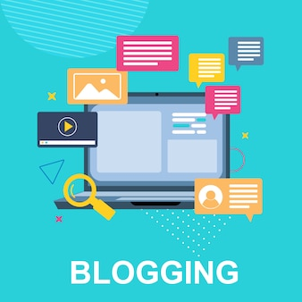 Banner   blogging and laptop message comes