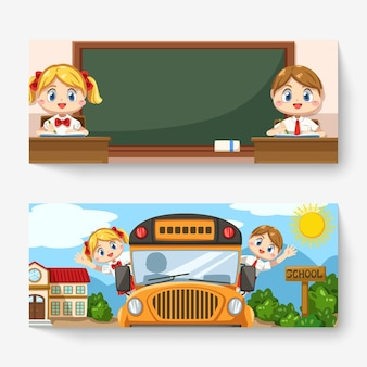 Banner of boy and girl wearing student uniform in classroom and sitting on the school bus