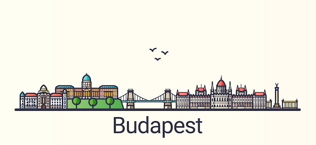 Banner of budapest city in flat line trendy style. budapest city line art.