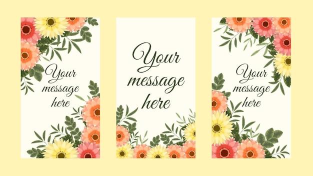 Banner bundle kit set of social media instagram story floral flowers stories sale banner background