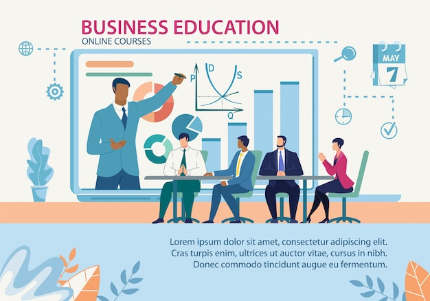 Banner business education online courses flat template