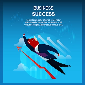 Banner business success trader bull flying