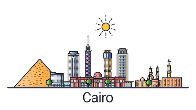 Banner of cairo city in flat line style. cairo city line art.