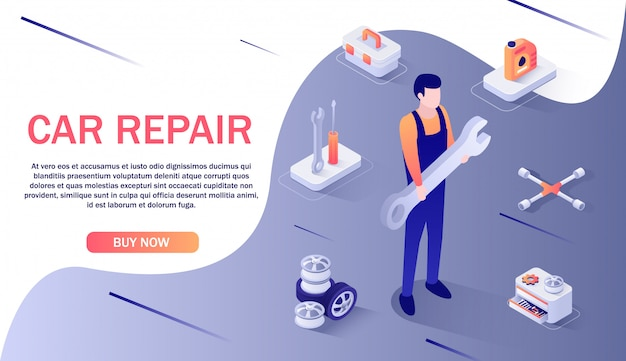 Banner for car repair service and spare parts online store banner