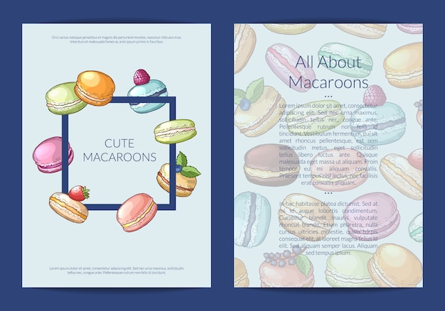 Banner card, flyer template for sweet or pastry shop with colored hand drawn macaroons illustration