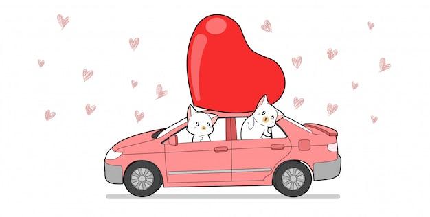 Баннер кошка персонаж внутри автомобиля с красным большим сердцем