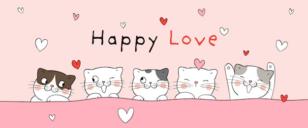 Banner of cats for valentine's day