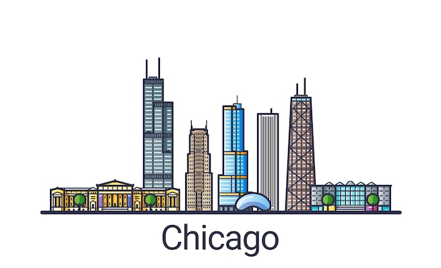 Banner of chicago city skyline in flat line trendy style. chicago city line art.