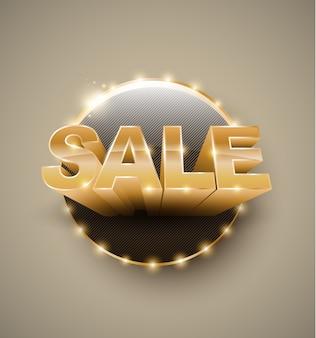 Banner circle retro light bulb gold text sale 3d style