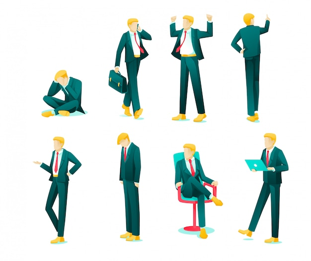 Banner collection emotions business person flat.