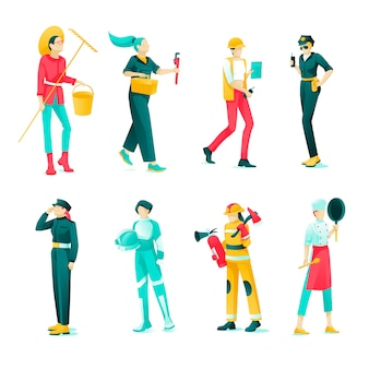 Banner collection female professions cartoon flat